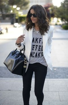 Graphic tee with blazer