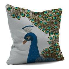 peacock cushion with left profile by doris by karen miller | notonthehighstreet.com Green Color Schemes, Green Colors, Peacock Christmas Tree, Monogram Pillows, Dory, Pillow Design, Cushions, Profile, Throw Pillows