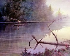 Morning Fishing Art Print of Watercolor Painting - Lake, Forest, Nature, Serene Man Fishing. Fishing in the morning ▼Archival reproduction of original oil painting ▼Choose from 8x10, 12x15, 16x20 Inches ▼Archival print printed with Epson Ultra Chrome pigment inks on Hahnemuhle Fine Art paper. ▼The print looks very much like an original watercolor painting. ▼Prints will come signed ▼8x10 prints are packed in a clear cello sleeve with heavy duty board mailer to avoid bending ▼12x15 and…