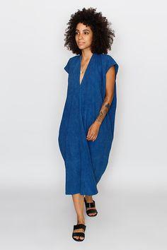 Indigo Everyday Dress, Oversized, Silk | Miranda Bennett Studio