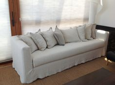 White and Natural linen Sofa