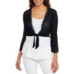 No Boundaries Juniors Textured Tie Front Cardigan, Size: Medium, Black