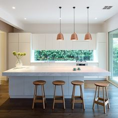 A luxurious interior refurbishment of a Victorian cottage to reveal a functional series of spaces and garden connections. Kitchen Living, New Kitchen, Kitchen Interior, Kitchen Decor, Kitchen With Window, Kitchen Wood, Kitchen Ideas, Kitchen Island Bench, Kitchen Benches