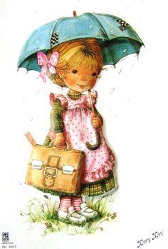 Fillette avec parapluie et cartable de Mary May