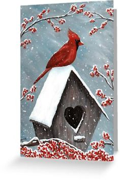 Acrylic Painting of the red Northern Cardinal bird in the winter snow. The snow is gently falling on him, the birdhouse and the frozen holly berries. Original Acrylic Painting Art by Donna Leger. All Rights Reserved. Painting Snow, Winter Painting, Winter Art, Tole Painting, Winter Snow, Bird Painting Acrylic, Diy Painting, Christmas Paintings On Canvas, Bird Paintings On Canvas