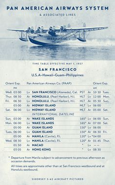 Graphic containing a Sikorsky S-42 flying boat and a 1937 Pan American Airways schedule — not original Pan Am graphics but a reproduction using Typetanic's new font, Transat Text. In this setting Transat Text shows not only its early modernist flair but also its usefulness and legibility, both as a text and a display font. http://typetanicfonts.com