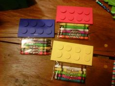 Lego and crayons for Lego Party