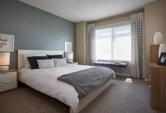 Bramley Townhome Showhome - Gateway at Williamstown in Airdrie Alberta Townhouse, Master Bedroom, Furniture, Design, Home Decor, Master Suite, Decoration Home, Terraced House, Room Decor
