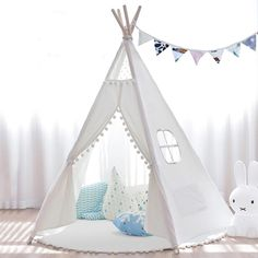 Kids Teepee Tent Indoor Outdoor Children Indian Play Tent 5 Wooden Poles Canvas Tipi with Cotton Mat, Carry Bag, Decorations Star Stickers & Flag By JOYNOTE (White) Teepee Play Tent, Diy Teepee, Kids Tents, Teepee Kids, Teepees, Tent House For Kids, Toddler Tent, Indoor Playhouse, Tent Design