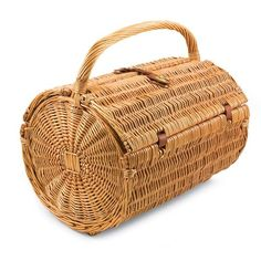 """Size: 16"""""""" x 8.5"""""""" x 14"""""""" Round style romantic picnic basket woven from all-natural willow Service for 4 includes plates, glasses, flatware, a bottle opener. Securing straps keep items in place; inter"""