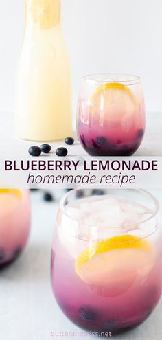 Easy and refreshing blueberry lemonade!  A homemade recipe for sweet lemonade made with fresh blueberry simple syrup.  Perfect for kids, and easy to make it an adult cocktail with your favorite spirit!  Recipe at butterandbliss.net 4th Of July Desserts, No Bake Desserts, Cocktail Juice, Blueberry Lemonade, Tea Smoothies, Fitness Foods, Fruit Pie, Milk Shakes, Homemade Recipe