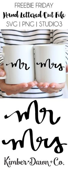 Hand Lettered Mr & Mrs Free SVG Cut File Hand Lettered Mr & Mrs Free SVG Cut File Wedding season is upon us which means creating gifts for the happy couple! Wouldn't this be cute on coordinating mugs Plotter Silhouette Cameo, Silhouette Cameo Projects, Silhouette Machine, Silhouette Files, Silhouette Design, Free Silhouette, Cricut Fonts, Svg Files For Cricut, Cuadros Diy