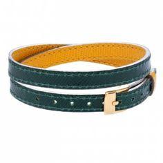 Leather bracelet Green/yellow £28 #lilou #bracelet #christmas #present #lessthan35 #jewellery