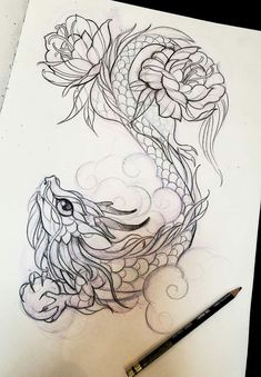 Dragon Tattoo Dragon TattooYou can find Tattoo drawings and more on our website. Pencil Art Drawings, Art Drawings Sketches, Tattoo Sketches, Cute Drawings, Animal Drawings, Owl Tattoo Drawings, Cute Tattoos, Body Art Tattoos, Tattoos Skull