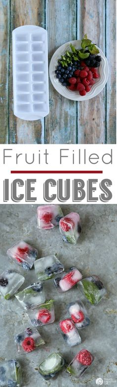 Fruit Filled Ice Cubes with Mint - Berry filled Ice cubes for fun entertaining. Great for 4th of July | See more on TodaysCreativeLife.com