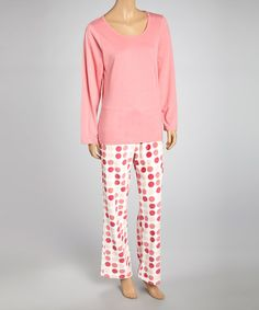 Take a look at this Pink Dot Knit Long Pant Pajamas - Women by Aegean Apparel on #zulily today!