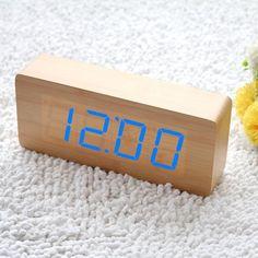 Innoo Tech Réveil matin bois LED vert Horloge digitale LED montre ...