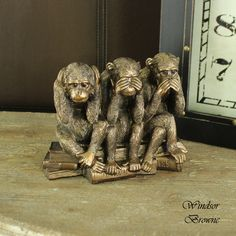 Bronzed Three Wise Monkeys Ornament An ornament of the iconic 'See No Evil, Hear No Evil, Speak No Evil' monkeys Each monkey is different, doing the action for 'See No Evil, Hear No Evil, Speak No Evil' Monkey Art, Pet Monkey, Monkey Decorations, Three Wise Monkeys, See No Evil, Antique Clocks, Bedroom Accessories, Crazy People, Lion Sculpture