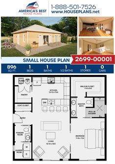 1 Bedroom House Plans, Guest House Plans, Garage House Plans, New House Plans, Dream House Plans, Cabin Plans, Small House Living, Small House Design, Tiny Home Designs