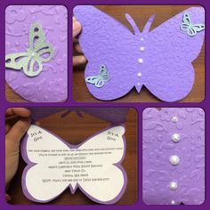 Free FREE Template Cute Butterfly Baby Shower Invitation - Home Page Baby Shower Purple, Butterfly Baby Shower, Cute Butterfly, Baby Shower Fun, Purple Butterfly, Purple Baby, Butterfly Birthday Party, 1st Birthday Girls, Purple Birthday