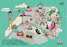 Caroline Selmes - Paris map Map Design, Graphic Design, Paris Map, Travel Illustration, Travel Maps, Travel Themes, Cartography, Travel Around The World, Tourism