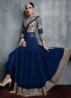 Blue and Gold Pant Style Anarkali