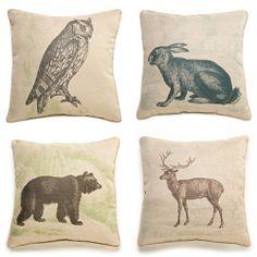 Woodland Creatures Pillows Pinned by www.myowlbarn.com