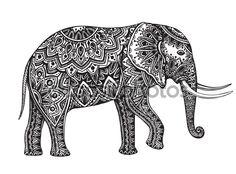 Стилизованные фэнтези узорной слона. Рука нарисованные вектор illustrat — стоковая иллюстрация #83774864