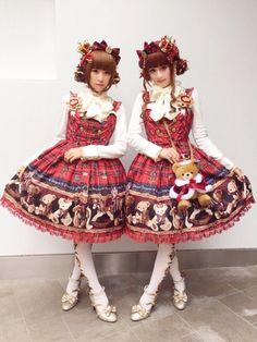 Angelic Pretty - British Bear JSK; Twins coordinate by Naho and Hiyo