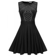 Meaneor Women Sleeveless 1950s Vintage Style Rockabilly Sequin Casual Fit Pleated Dress