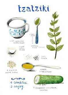 Tzatziki by felicita sala illustration - Really nice, clean illustrated recipe. Tzatziki by feli Tzatziki Recipes, Salsa Tzatziki, Homemade Tzatziki Sauce, Sauce Barbecue, Natural Yogurt, Cooking Recipes, Healthy Recipes, Healthy Food, Vegetarian Recipes