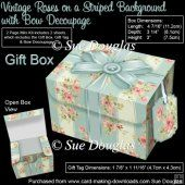 Gift Box Vintage Roses on a Striped Background with Bow Decoupag