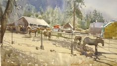 Frank Eber watercolor - Yosemite - looks like NPS stables...