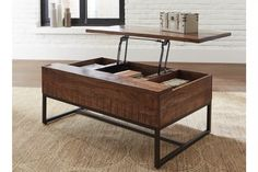 Hirvanton Contemporary Warm Brown Lift Top Cocktail Table - Industrial - Coffee Tables - by Ashley Furniture Industries Lift Top Coffee Table, Coffee Table With Storage, Coffee Desk, Lift Table, Contemporary Coffee Table, Modern Coffee Tables, Top Cocktails, Ashley Furniture Industries, Lounge Decor
