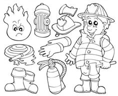 Firefighter Coloring Pages For Kindergarten. Fire Department - Fire Engine Coloring Pages. When it burns, it roars with sirens and blue lights - the fire department. The brave firefighters pull t. Coloring Pages To Print, Coloring For Kids, Printable Coloring Pages, Coloring Pages For Kids, Coloring Sheets, Coloring Books, Fire Safety Week, Worksheets For Kids, Preschool Activities