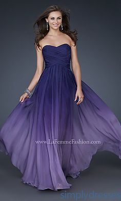 LONG STRAPLESS OMBRE GOWN BY LA FEMME 17004