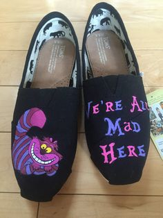 Custom Hand-Painted Disney Cheshire Cat TOMS by AWalkInHerShoes