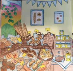 My Colorful Town By Chiaki Ida  Left page of interior of bakery  Completed adult coloring page by colorist: Jax
