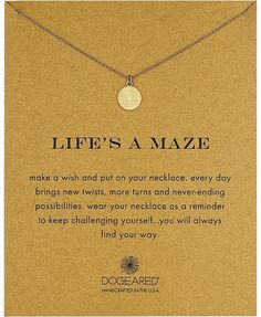 Dogeared Life's a Maze Reminder Necklace