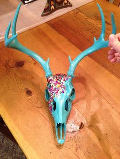Hey, I found this really awesome Etsy listing at http://www.etsy.com/listing/154994875/turquoise-hand-beadedpainted-deer-skull