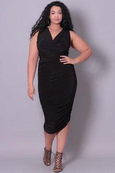 Plus Size Cowl Neck Bodycon Dress - Black