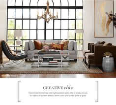 YES... Creative Chic... Bohemian Style Living Room... clean lined furnishings, white walls, opulent texture, warm color, and subtle glints of gold.