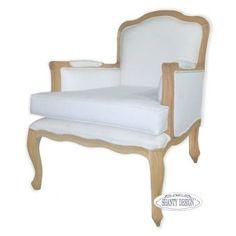 poltrona in legno shabby chic online con imbottitura in tessuto e lino provenzale bianco.