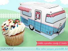 blue retro camper -  cupcake box holds cookies and treats, gift and favor box, party centerpiece printable PDF kit - INSTANT download