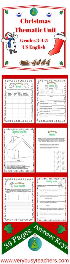 Bring Christmas Cheer into your classroom with this colorful Christmas Thematic Unit for Grades 3-4-5. With 39 pages of worksheets and activities full of fun and learning. All answer keys are included. We wish everyone a safe and happy Christmas this year. http://www.teacherspayteachers.com/Product/Christmas-Thematic-Unit-Intermediate-for-Very-Busy-Teachers-162617