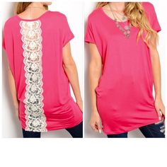 """Oversized Lace Inset Tunic or Dress Coral knit short sleeve top features oversized fit, a rounded neckline, draped sides, longline hem and center crochet panel detail on back. S (44"""" bust, 32"""" length), M (50"""" bust, 32"""" length). 95% Rayon, 5% spandex. Very soft & stretchy. Please comment size to purchase & I will personalize a listing for you. Tops Tunics"""