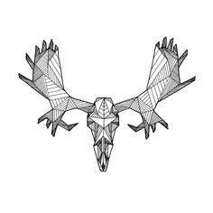 Detailed Geometric Moose Skull Drawing - (Digital Art Print from Original Skeleton Illustration). $18.00, via Etsy.