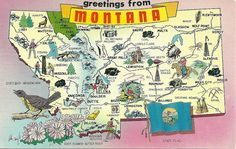 """:Greetings from Montana"""" map postcard ... illustrated with scenic highlights and state symbols, c. 1950s, USA"""