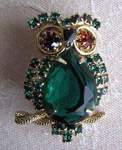 Owl Brooch Alice Caviness Signed Emerald Green