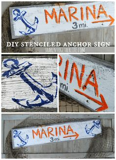 Make a DIY stenciled anchor sign - great for nautical gallery walls, home decor or the beach house! Love the #Stencil1 nautical stencil! #spon
